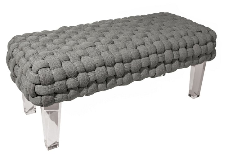Plaited Montecarlo Bench, Gray