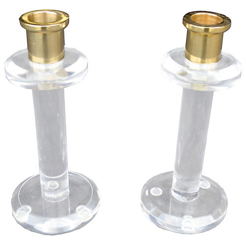 S/2 Lucite Candlesticks, Clear/Brass