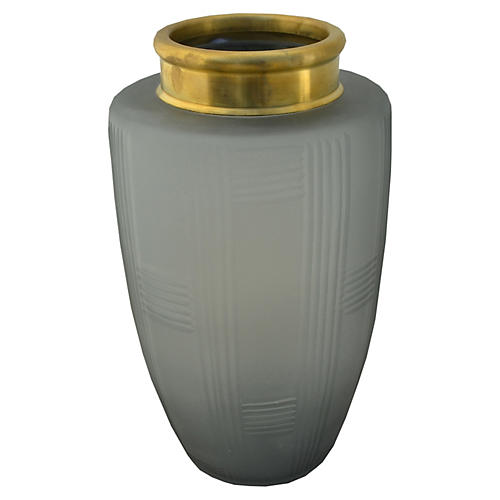 "11"" Goddess Vase, Gray/Brass"