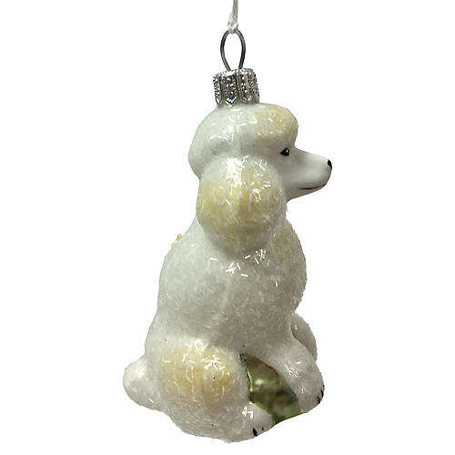 "4"" Poodle Ornament, White"