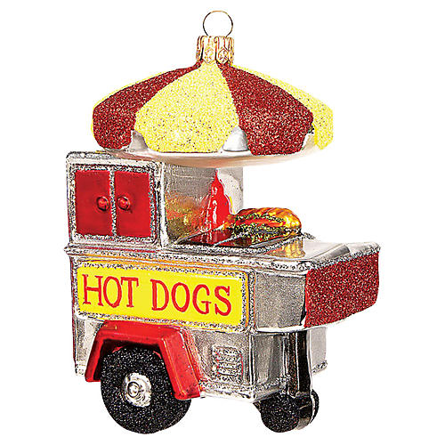 "4"" Hot Dog Stand Ornament, Red/Yellow"