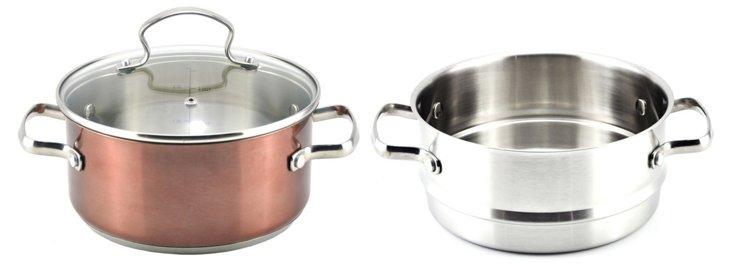 3 Qt Sauce Pot w/ Steamer Insert, Copper