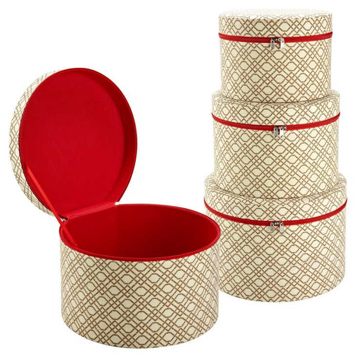S/3 Nested Accessory Boxes, Bamboo Beige