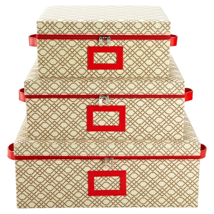 Asst of 3 Nested Zippered Boxes