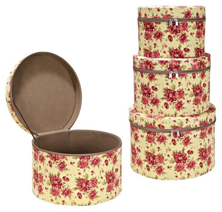 3-Pc Round Accessory Box Set, Cranberry