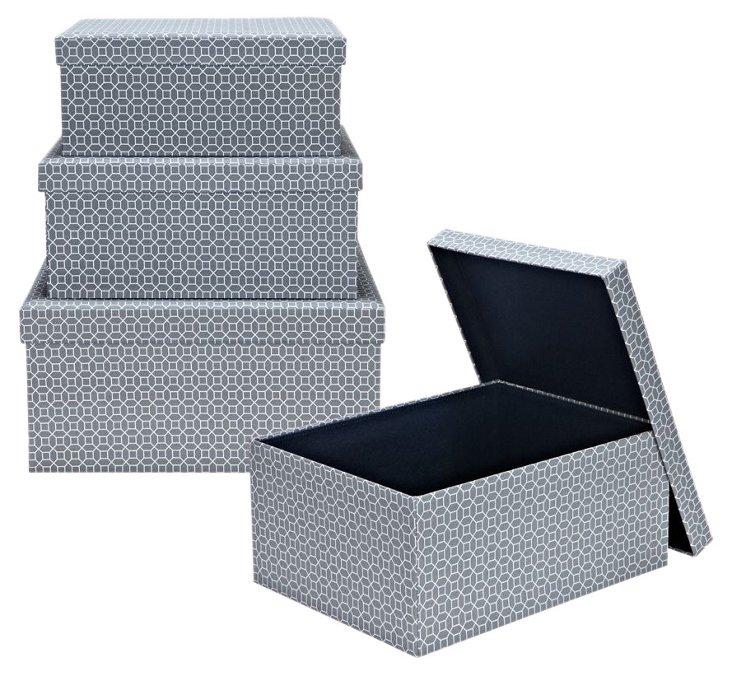 3-Pc Storage Box Set, Charcoal