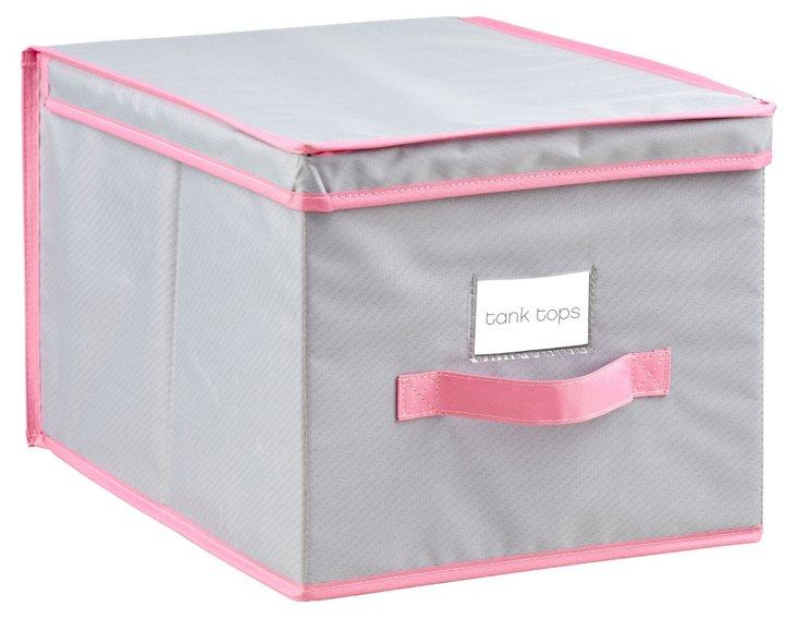 Large Storage Box, Gray/Pink