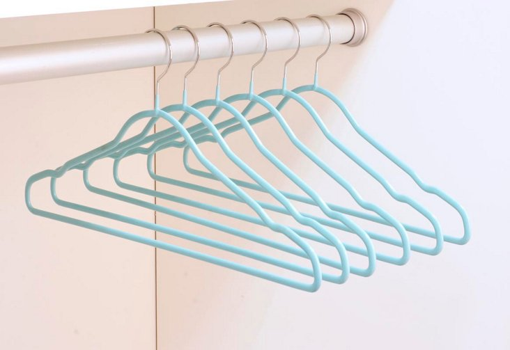 6-Pk Silicone-Coated Hangers, Teal