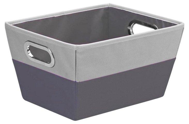 Medium Color-Block Storage Tote, Gray