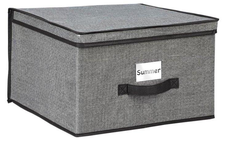 Faux-Jute Jumbo Storage Box, Gray