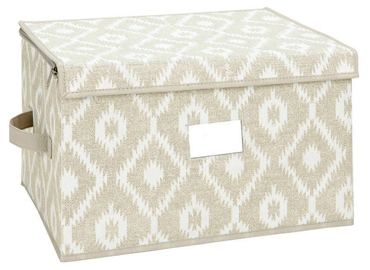 Large Zippered Storage Box, Ikat
