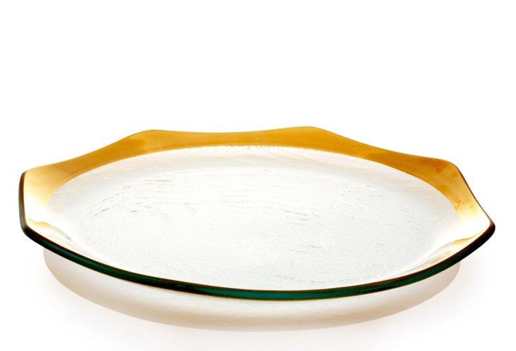 S/4 Octagonal Dinner Plates, Gold
