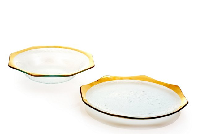 Serving Bowl & Platter, Gold