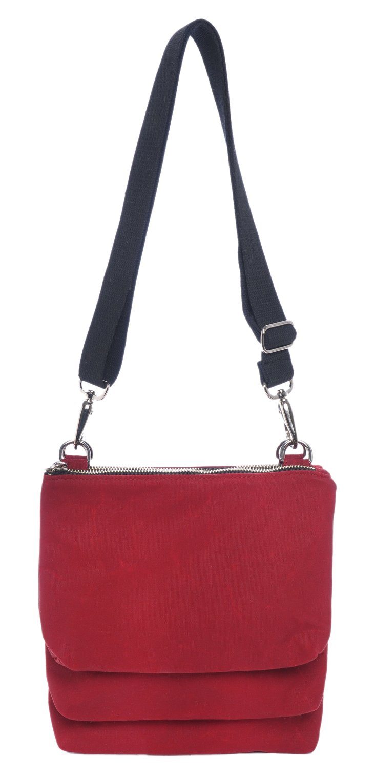 Trilogy Pouch Canvas Crossbody, Red
