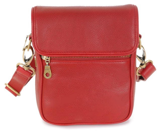Bowery Leather Crossbody, Red