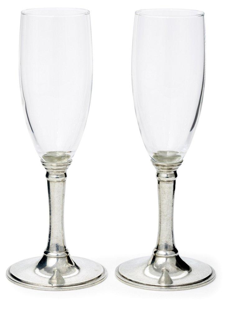 S/2 Pewter-Stemmed Champagne Flutes