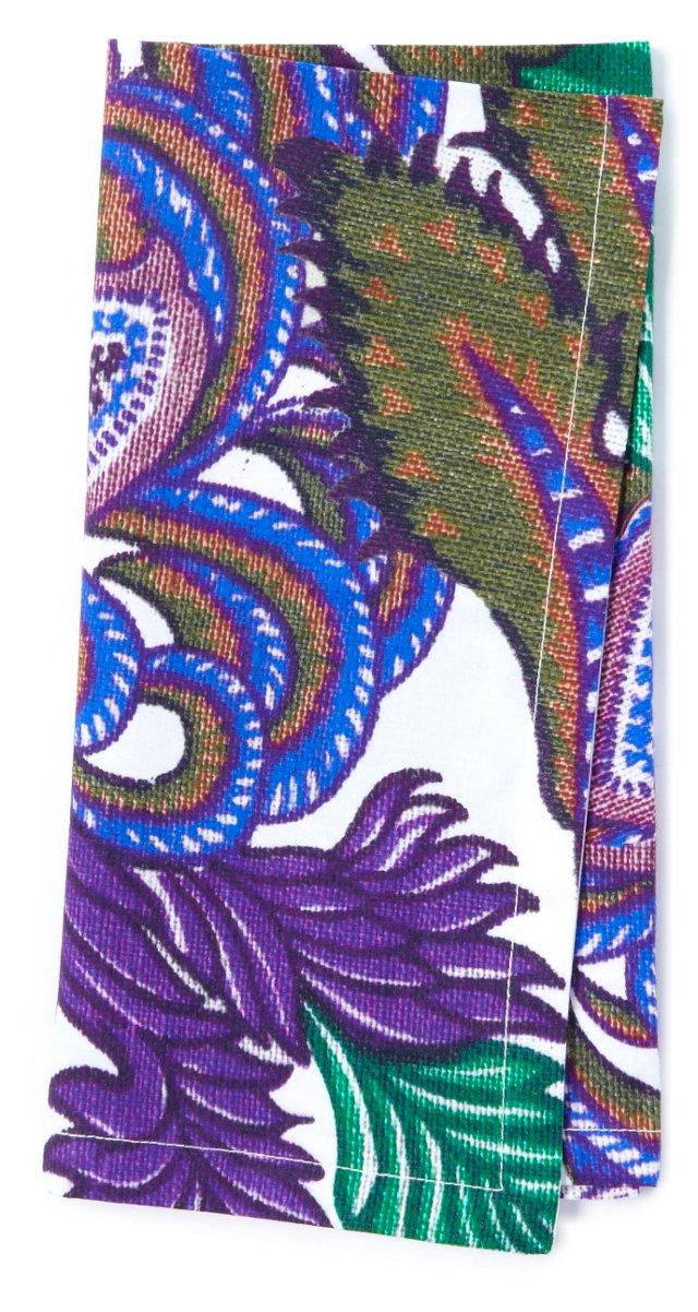 S/4 Floral Print Napkins, Purple