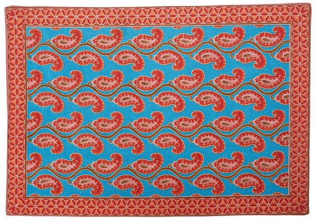 S/4 Paisley Place Mats, Red/Blue