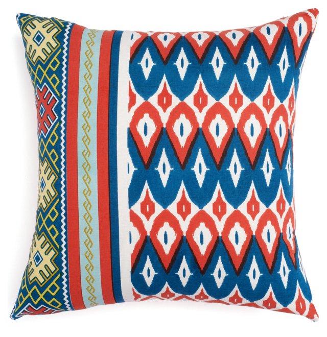 Reversible 18x18 Cotton Pillow, Blue