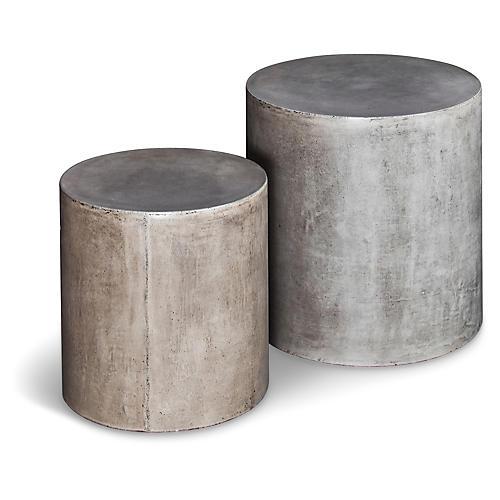 Exeter Concrete Stools, Pair