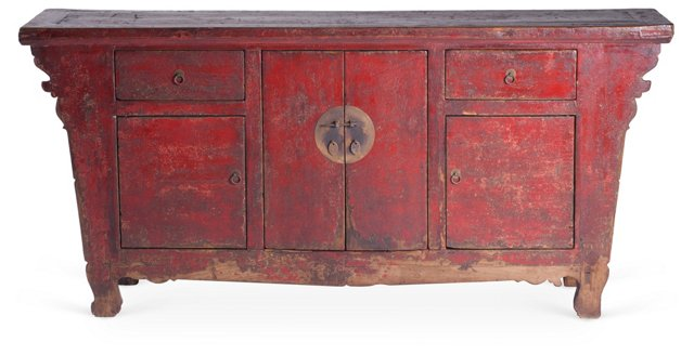 Sue Side Cabinet, Distressed Red