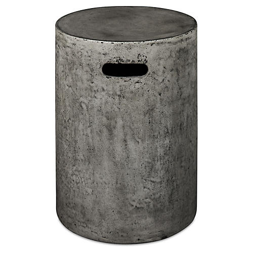 Cylinder Stool, Dark Gray Concrete