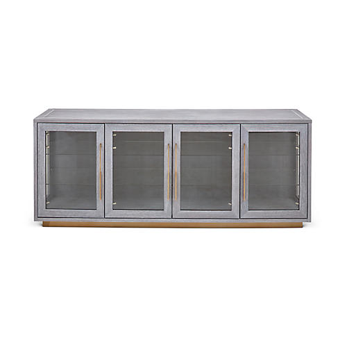 Denton Sideboard, Gray/Brass