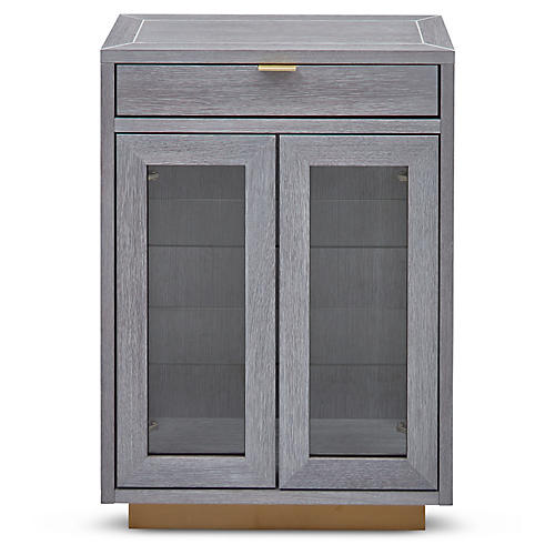 Denton Bar Cabinet, Gray/Brass