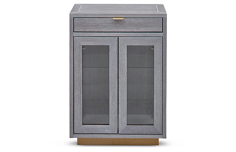Denton Bar Cabinet - Gray/Brass
