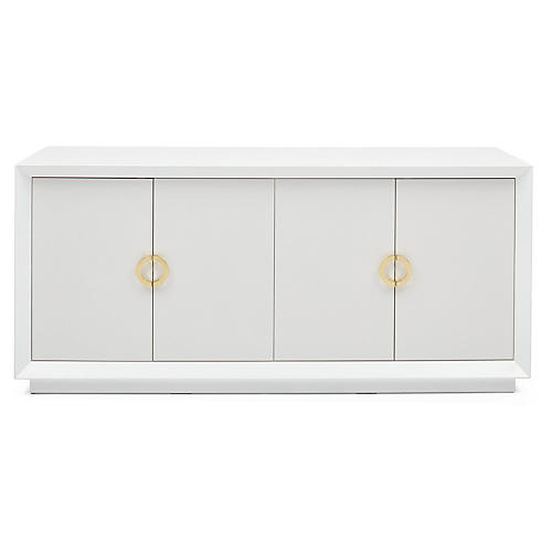 Monroe Sideboard, White/Brass