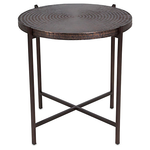 Sanskrit Side Table, Antiqued Copper