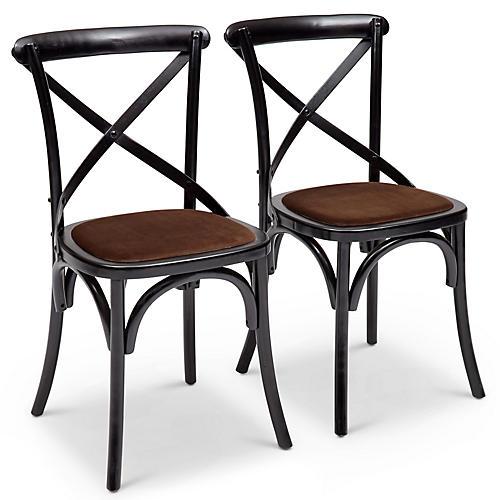 S/2 Nimes Side Chairs, Mocha Velvet