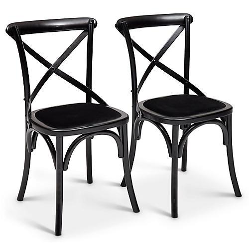 S/2 Nimes Side Chairs, Black Velvet