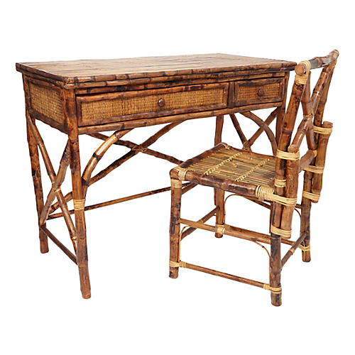Kendall English Desk & Chair, Tortoise