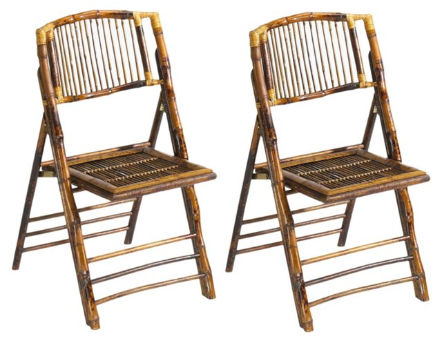 Tortoise Anneliese Folding Chairs, Pair