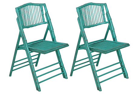 Turquoise Anneliese Folding Chairs, Pair