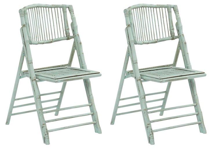 Aqua Anneliese Folding Chairs, Pair