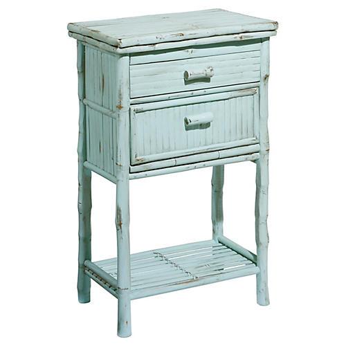 Imogen 2-Drawer Side Cabinet, Dusty Aqua