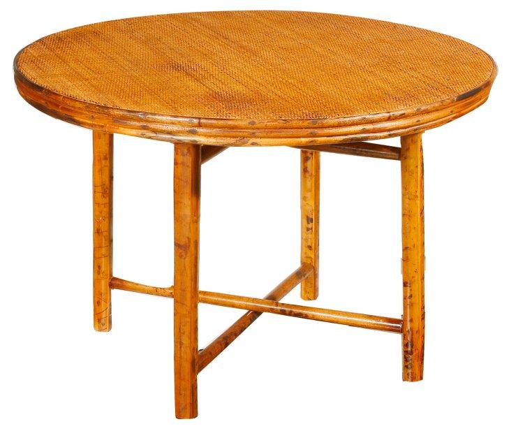 """Wright 40"""" Round Rattan Table,Tortoise"""