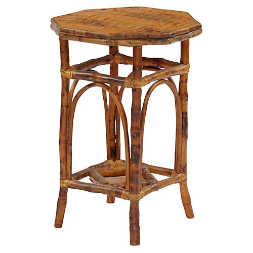 Bamboo Octagon Side Table, Tortoise