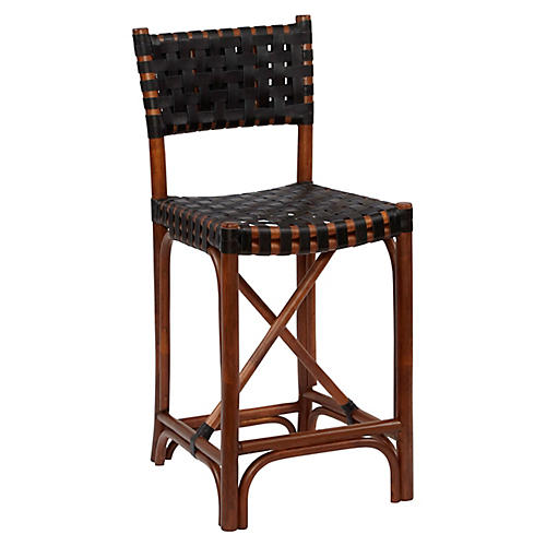 Mol Rattan Counter Stool, Cocoa/Black