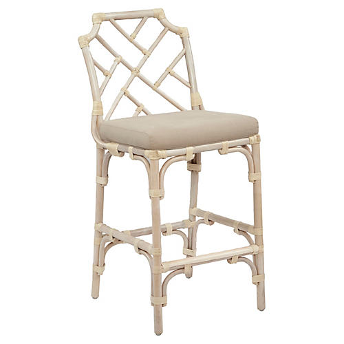 Chippel Rattan Counter Stool, Ivory