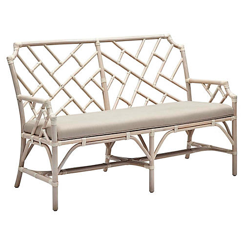 Chippel Rattan Bench, Ivory
