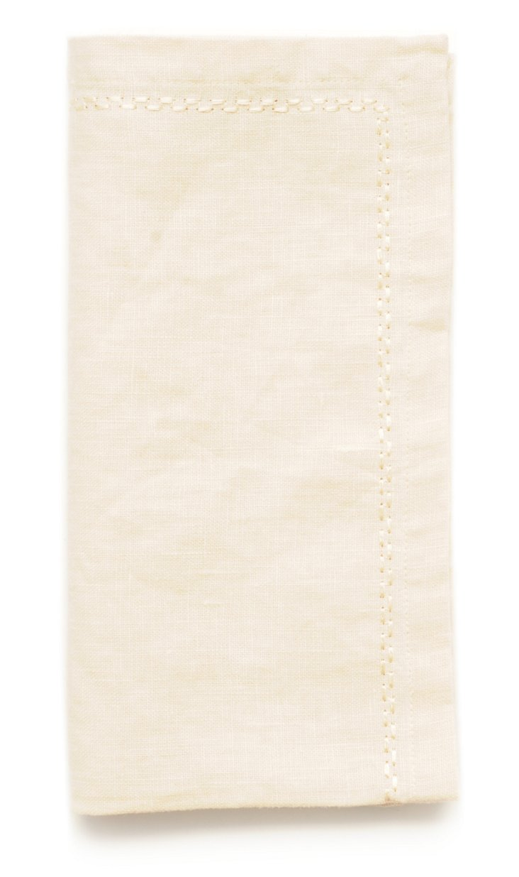 S/4 Washed Linen Napkins, Butter