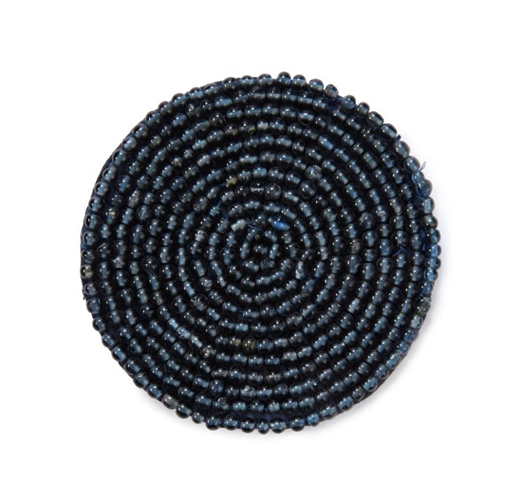 S/6 Bead Coasters, Navy