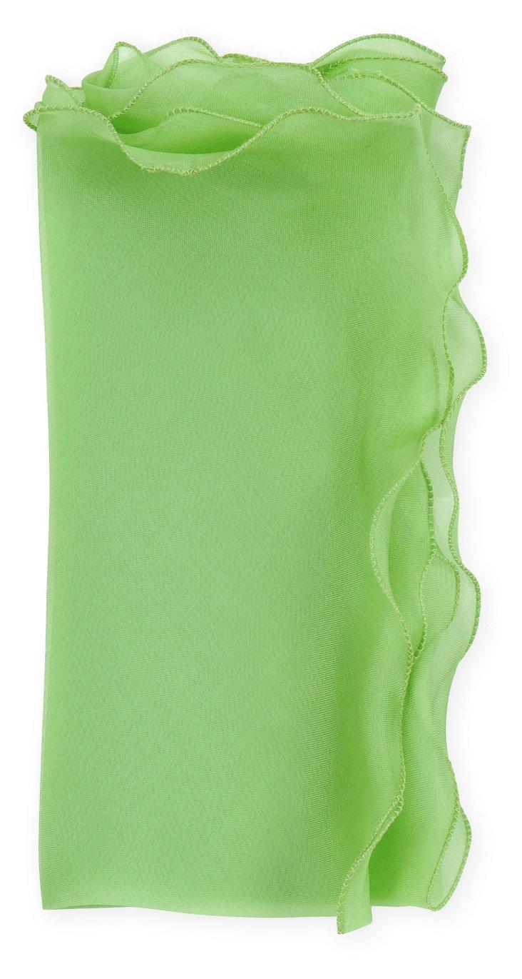 S/4 Bias Silk Organza Napkins, Green