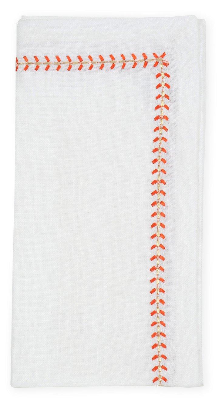 S/4 Herringbone Napkins, Orange