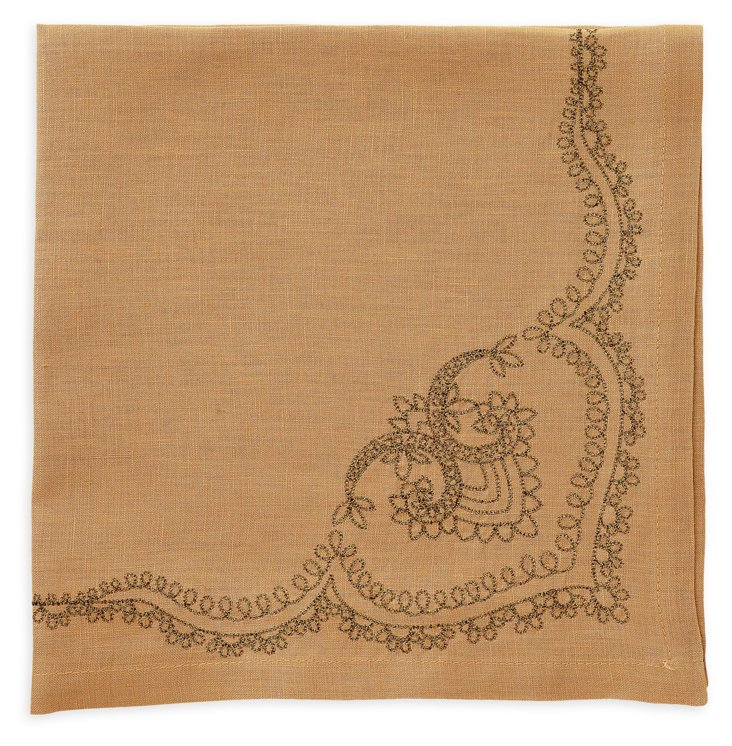 S/4 Maharaja Napkins, Gold/Copper