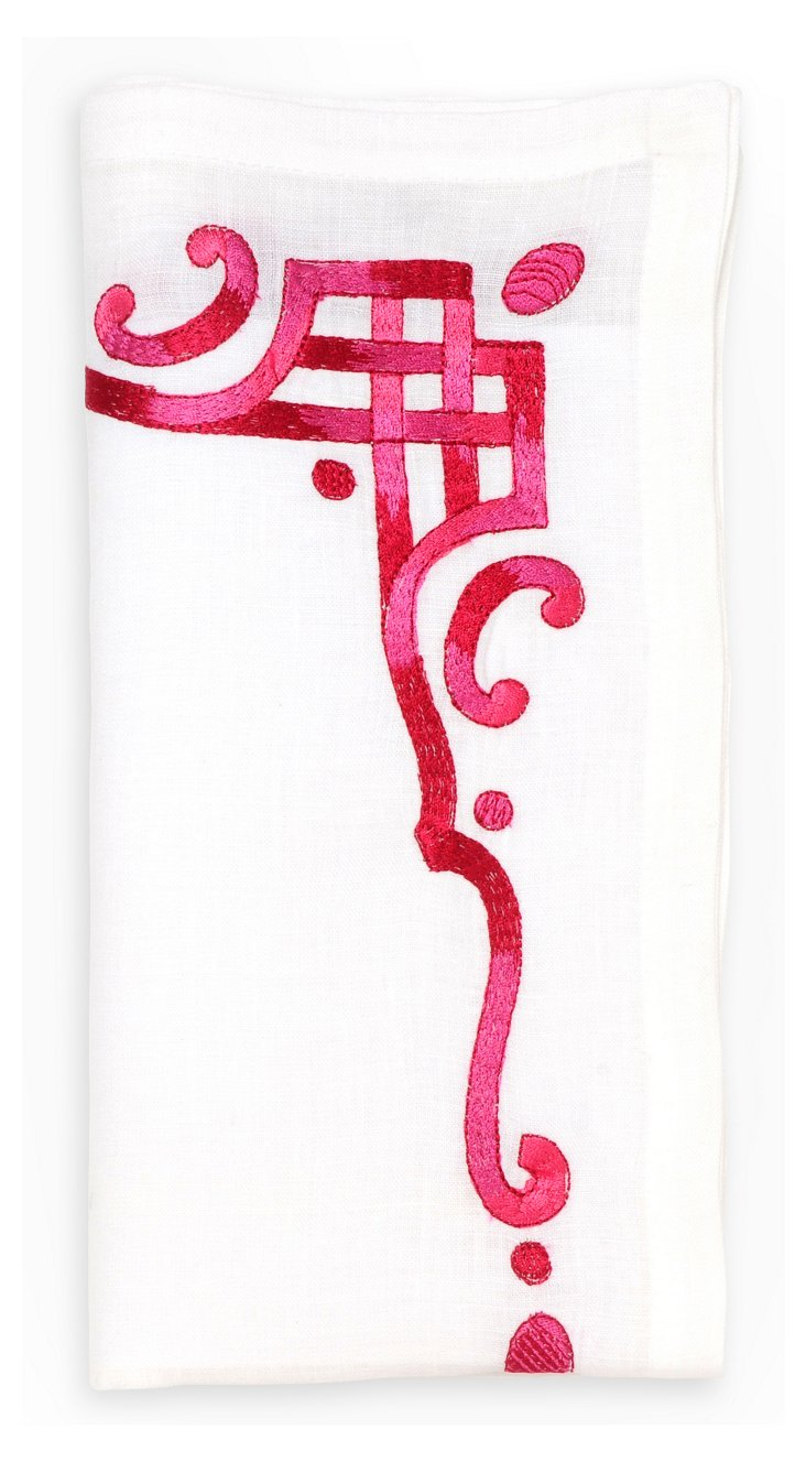 S/4 Neoclassical Border Napkins, Pink