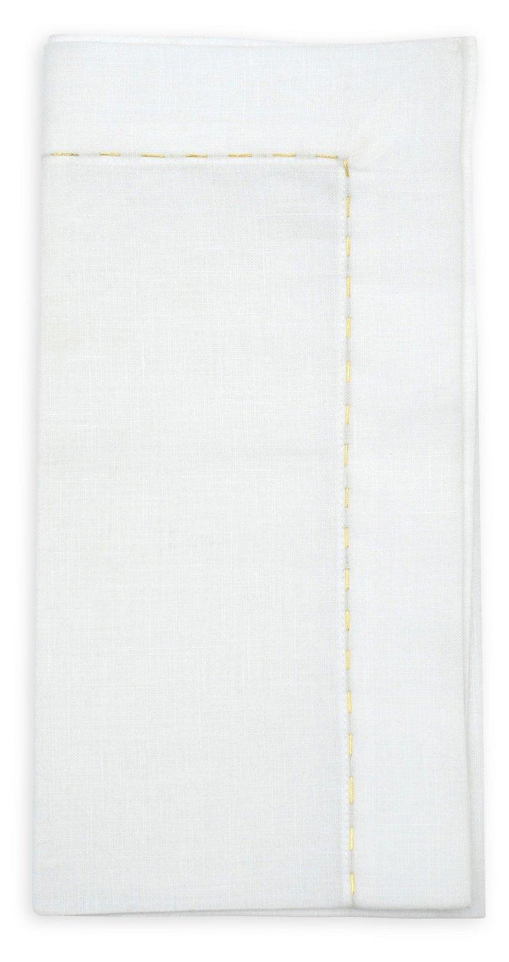 S/4 Pickstitch Napkins, White/Gold